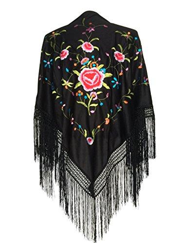 La Señorita Foulard cintura chale manton de manila Flamenco di danza nero fiori colorati