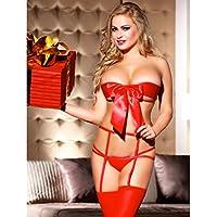 Bakaji Completino Sexy Lingerie Hot Donna Pacco Regalo Fiocco Rosso Perizoma Tanga e Autoreggenti per Giochi Erotici Taglia Unica 3 Pezzi