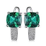 Jewelrypalace 3.31ct Grün Simulierte Prinzessin Schliff Nano Russisch Smaragd Damen Ohrschmuck Ohrkelmme...