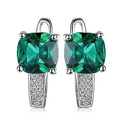 Idea Regalo - JewelryPalace Cuscino 3.1ct Verde Artificiale Russo Nano Smeraldo Hoop Orecchini a Cerchio Argento Sterling 925