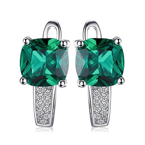 Jewelrypalace 3.31ct Grün Simulierte Prinzessin Schliff Nano Russisch Smaragd Damen Ohrschmuck Ohrkelmme Ohrring Ohrstecker 925 Sterlingsilber Fantastisches Geschenk