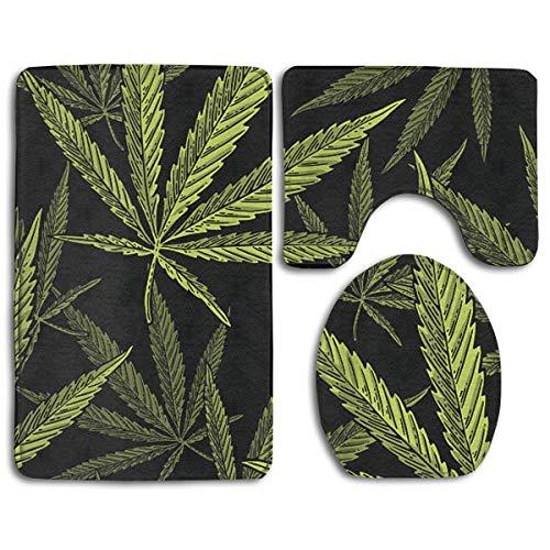 DFHome Badezimmer-Matte stellt 3 Stück EIN Bathroom Rug Mats Set 3 Piece, Top Cannabis Leaf Clip Print Non-Slip Bath Rugs + Toilet Seat Cover + Contour Mat -