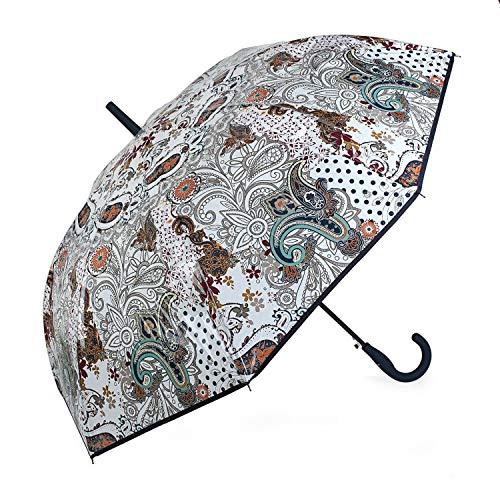 Lois - Paraguas Clásico Estampado Transparente. Apertura