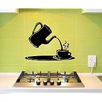 piatto di parete arte caffè Tazza Cucina Decorazione Sticker Adesivo Per 5Q623 - Rosso Opaco, 55cm