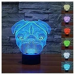 3D Illusion Cute shapei Pug perro Lámpara luces de la noche ajustable 7 colores LED Creative Interruptor táctil estéreo visual atmósfera mesa regalo para Navidad