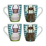 ebos 4er-Set | 4 x Bavaria Dirndl Lederhose -Tasse | Porzellantasse, Kaffeetasse, Teetasse | spülmaschinengeeignet (blau-weiß)