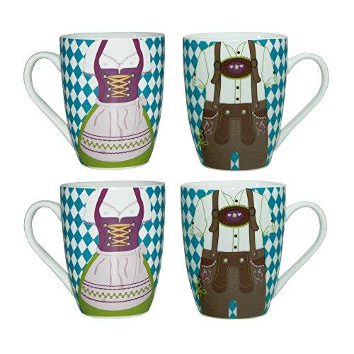 ebos 4er-Set | 4 x Bavaria Dirndl Lederhose -Tasse | Porzellantasse, Kaffeetasse, Teetasse | spülmaschinengeeignet (blau-weiß) Bayern Tee-set