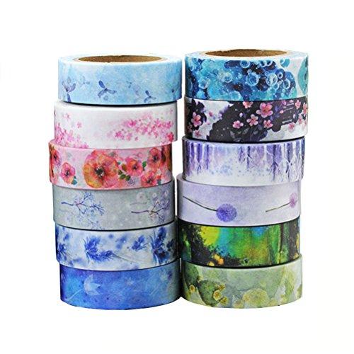 ULTNICE Washi Adhesive Tape Set Colección decorativa de la cinta del arte para DIY y envoltura del regalo con diseños y patrones coloridos 12 rodillos