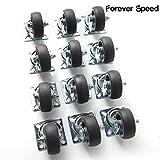 Forever Speed - Ruote da trasporto, 12 x 50 mm, carico 40 kg cad., lamiera di acciaio e polipropilene, zincato grigio chiaro