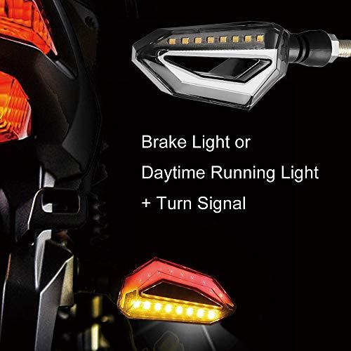 Evermotor Universal Motorrad LED Blinker 1 Paar LED DRL Tagfahrlicht Bremslicht Quad Roller Chopper Cruiser ATV Moped