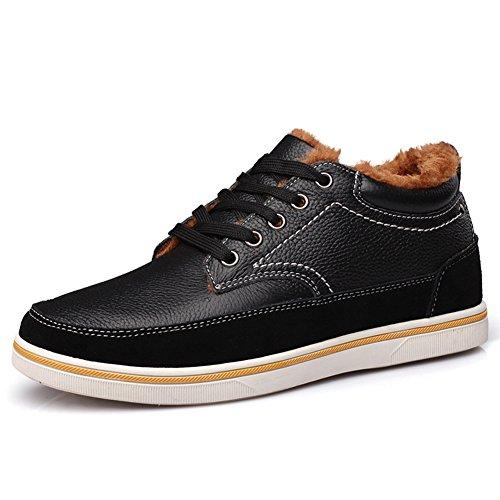 chaussures d'hiver chaud pour homme Sneakers Derbies plat caché ascenseur printemps De plus en velours,noir