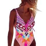 Hevoiok Damen Gepolsterte Badebekleidung Bikini Bandge Badeanzug Neue Mode Damen Sexy Strand Push-Up BH Bademode Blumendruck (Rosa, L)