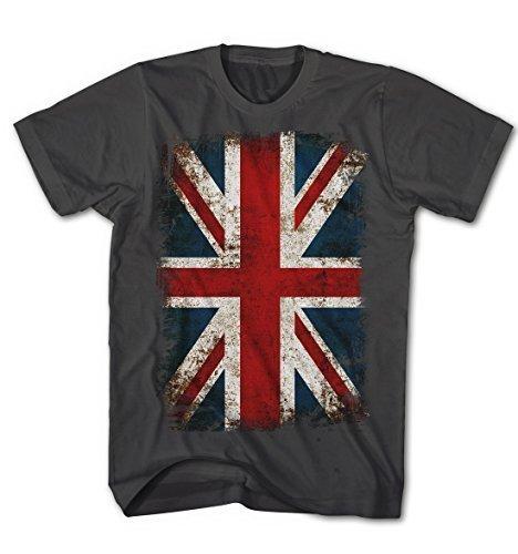T-shirt Union Jack Flagge Vintage Grunge Rock Stil England Kult Anthrazit