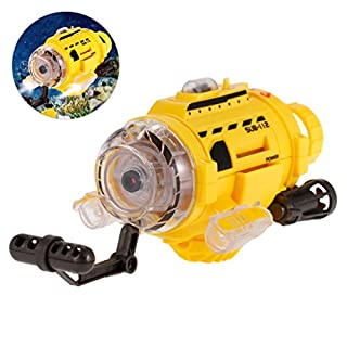 allcaca RC Remote Control Boat Submarine Toy with 0.3MP Camera, LED Lights and Unique Feeding Unit, Ideal For Children, Yellow