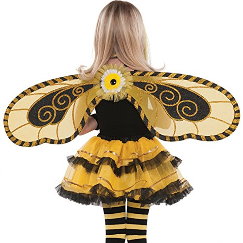 Girls Bumble Bee Yellow Black Gold Mini Beast Carnival Festival Summer Fancy Dress Fairy Wings (Black Bee Flügel Kostüm)