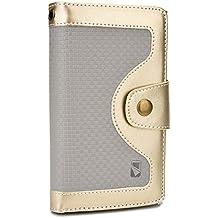 Funda Gionee Elife E6 / E7 Mini / S5.1 / S5.5 tipo cartera Tatami de Cooper Cases(TM) en Oro and Gris (Diseño en dos colores, protector de pantalla, ranuras para tarjetas, compartimento para carnet de identidad, compartimento para billetes)