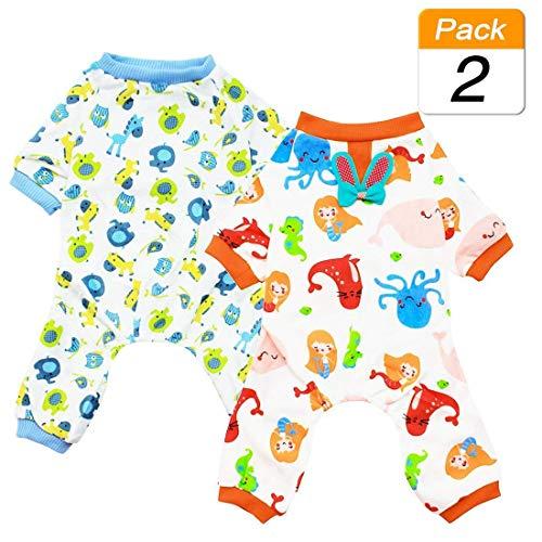 Scheppend Puppy perro pijamas acogedor suave trajes de mascotas dormir traje de ropa para peque?as medianas de 2 paquetes