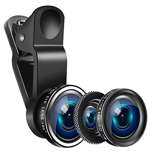 Yarrashop Mobile Phone Camera Lens Kit iPhone Lens With Fish Eye Lens +Macro Lens + Wide Angle Lens for iPhone 8/7/6/6s Plus/5s/SE, Samsung,Huawei, iPad,Snoy etc (3 in 1,Black) Test