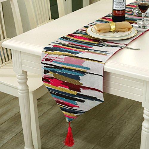 Simpvale tovaglia in lino e cotone multicolor dal design moderno, centrotavola lungo in jacquard con pennacchio, cotone/lino, rosso, 30cmx160cm