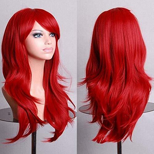(MMMENG 70Cm Lila Lockige Perücken Gefälschte Haarteile Kunsthaar Schwarz Rosa Rot Blau Cosplay Perücke Für Frauen)
