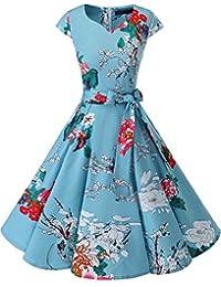 Dresstells Damen 50er Vintage Retro Cap Sleeves Rockabilly Kleider Hepburn Stil Cocktailkleider