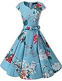 Dresstells Damen Vintage 50er Cap Sleeves Rockabilly Swing Kleider Retro Hepburn Stil Cocktailkleid Floral L