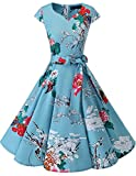 Dresstells Damen Vintage 50er Cap Sleeves Rockabilly Swing Kleider Retro Hepburn Stil Cocktailkleid Floral 2XL