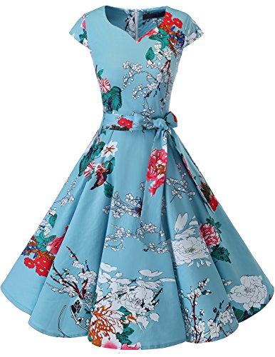 Dresstells Damen Vintage 50er Cap Sleeves Rockabilly Swing Kleider Retro Hepburn Stil Cocktailkleid Floral XL