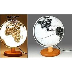 Bola del mundo terrestre en color blanco con lámpara con base de madera