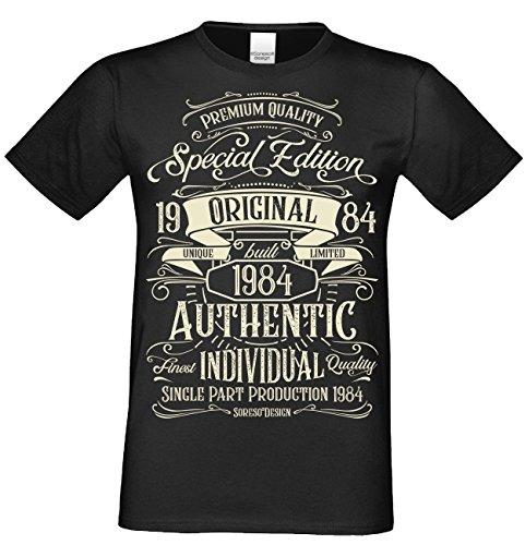 Vintage Retro Herren T-Shirt Kurzarm Special Edition 1984 Farbe: schwarz Gr: 3XL (1984 Schwarzen T-shirt)