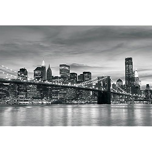 Consalnet Brooklyn Bridge New York Black White Wallpaper Mural