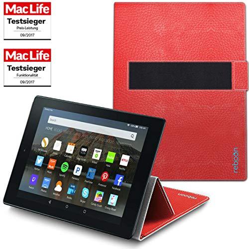 reboon Hülle für Amazon Fire HD 10 Tablet Tasche Cover Case Bumper | in Rot Leder | Testsieger (10 Tablet Zoll Tasche Rot)