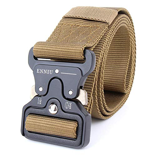 Yeying123 Tactical Belt Mens Military Nylon Waist Belt Mit Metal Buckle Adjustable Waistband Für Combat Equipment Army Training Outdoor Jagd,Brown (Combat Training-equipment)