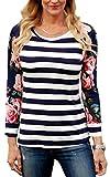 ECOWISH Langarmshirt Damen Pullover Blumen Gestreift Rundhals Tshirt Hemd Oberteile Tops Blau S