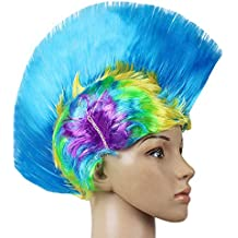 ZDYLL LED Leuchten Mohawk Perücke, Licht Hut, Mohawk Haar, Mohawk Frisuren, Licht Mohawk, Mohawk Perücke für Kinder, Glow Hair-für Mardi Gras, Neon-Party (Farbe : I)