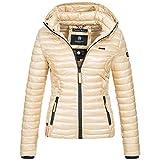 Marikoo SAMTPFOTE Damen Stepp Jacke Daunen Look gesteppt Übergang XS-XXL 11-Farben, Größe:S;Farbe:Gold