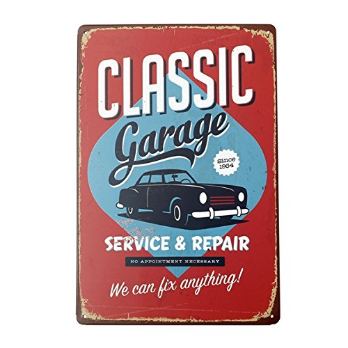 Bluelover Decoración de la pared clásico garaje lata signo Vintage M
