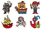 Piraten Aufnäher Set 6 Stück Bügelbilder Applikation