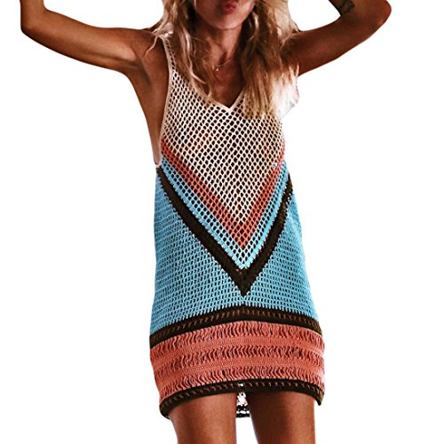 Longra Damen Bikini Crochet Cover Up Fishnet Sarong Wrap Beach Cover Up Handmade Swimwear Bikinikleider Sommer Bademode Bohemian Longtuniken Kurz Strandkleid (Multicolor, S)