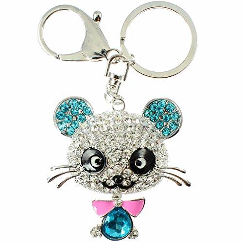 Qualité Panda Strass Cristal 3d Plaqué argent Sac à main Charm porte-clés ou accessoire