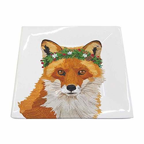 Paperproducts Design New Bone China Small Square Plate Featuring The Distinctive Glacier Fox Design, 5.75 x 5.75