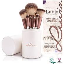 Luvia Cosmetics - Prime Vegan - Set da 16 pezzi di pennelli da trucco - incluso porta pennello per conservare il pennello da trucco vegano.