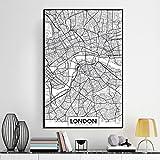 Demino Londra New York Parigi Parete della Tela di Canapa Pittura World City Map Poster Estratto Bianco Nero di Scheletro Olio Unframed Disegno A4: 21 * 30cm & London