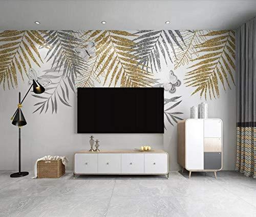 Papier Peint 3D Feuille De Palmier Doré De Luxe Clair Moderne Papier Peints 3D Effet Intissé Moderne Décoration Murale