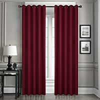 Dreaming Casa Blackout Curtains Burgundy Eyelets Thermal Insulated Bedroom Curtains Ring Top Solid for Kids Eyelets Window Treatments Blackout Living room 66 x 90 Drop Inch 2 Panels