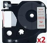 2 Schriftband Kassetten kompatibel für Dymo D1 45015 12mm x 7m rot auf weiss