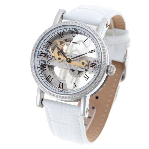 Yves Camani YC1032-G - Reloj analógico automático para hombre con correa de piel, color blanco