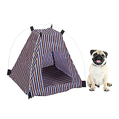 QYJpB Pet Cat House Soft Stripe Camouflage Dog Tent Kennel Cloth Mat Dog House Nest For Small Medium Dog Cat Pet Tools from QYJpB