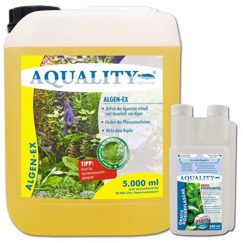 AQUALITY Algen-EX 5.000 ml (GRATIS Lieferung innerhalb Deutschlands - Erstklassiger Algenvernichter und Algenmittel für Ihr Aquarium - Befreit Sie von Fadenalgen, Bartalgen, Kieselalgen oder Blau- und Schmieralgen + GRATIS-Dosierflasche)