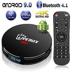 Livebox TV Box Android 9.0【4GB+64GB】L1 MAX Boîtier TV Quad Core 64 bit Android Box Wi-FI 2.4G/5G LAN100M/BT 4.1/ Box TV UHD 4K TV/USB 3.0 Media Player, Android Box Smart TV Box [2019 Dernière Version]